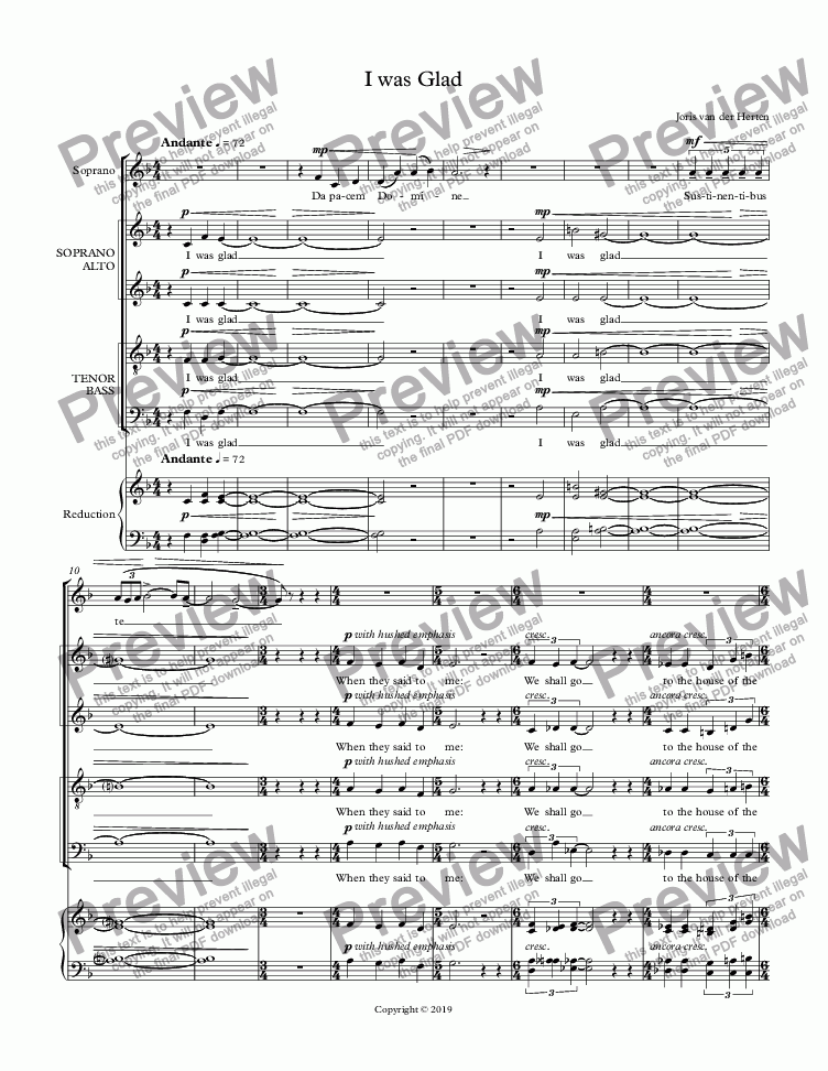 page one of I was Glad (choir SATB)