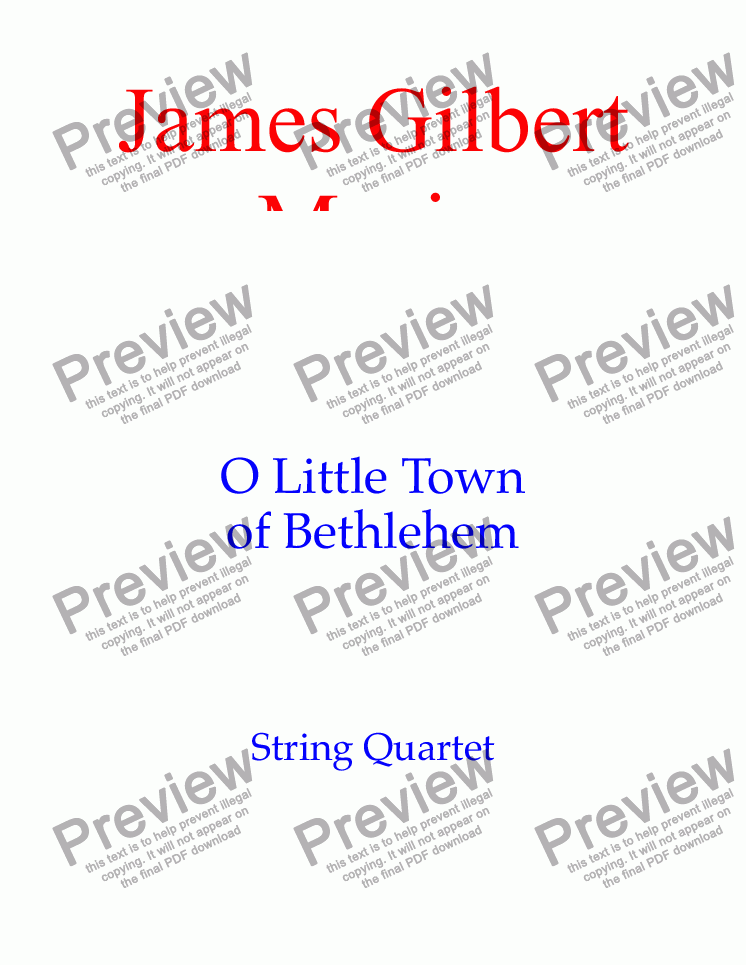 page one of O Little Town Of Bethlehem