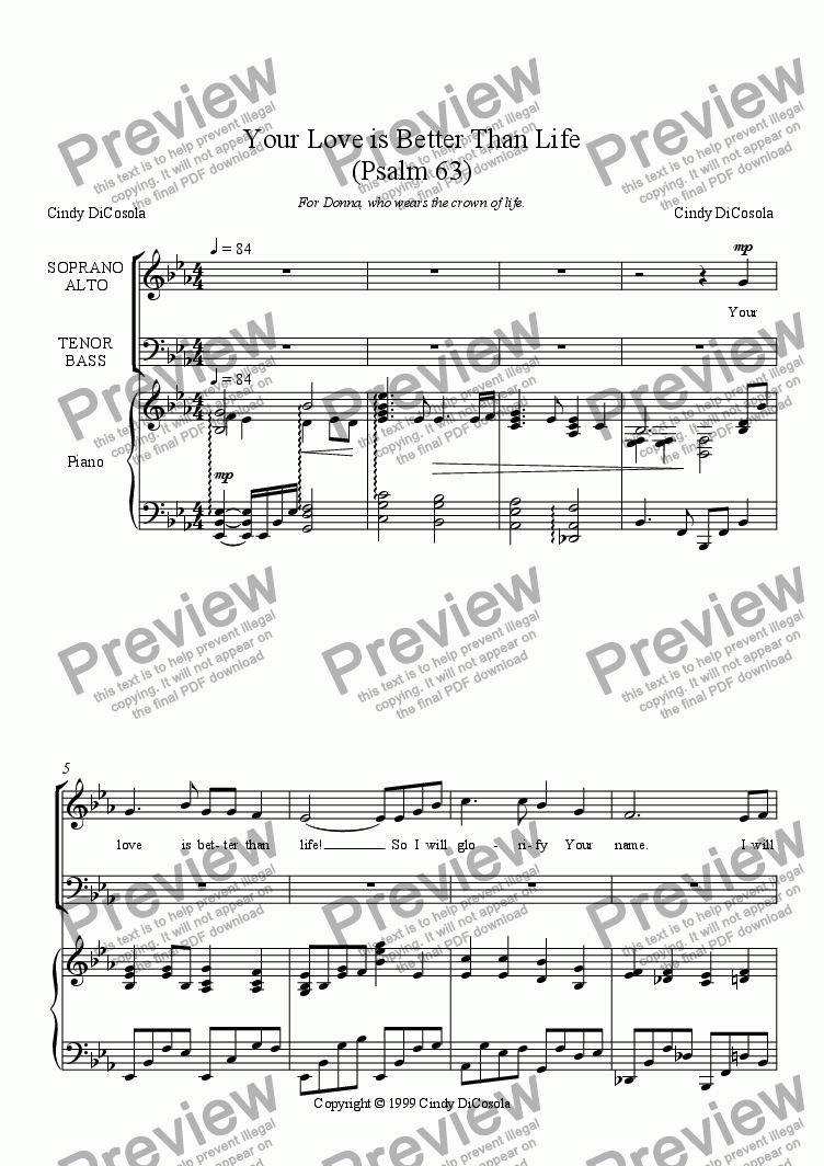 page one of Your Love is Better Than Life (Psalm 63) SATB w/piano