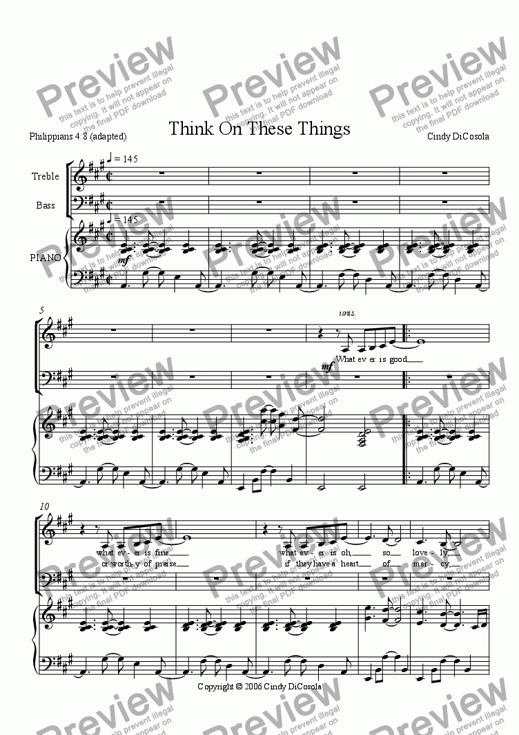 page one of Think On These Things - SATB (Philippians 4:8)