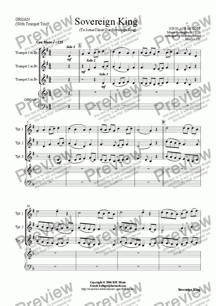 page one of Sovereign King (To Jesus Christ Our Sovereign King)  - Trumpet Trio with Organ