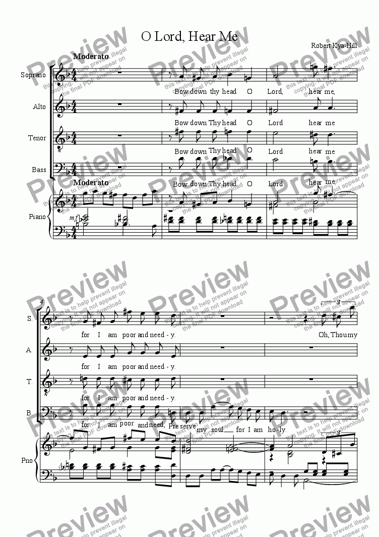 page one of O Lord, Hear Me [S,A,T.B, and Piano]