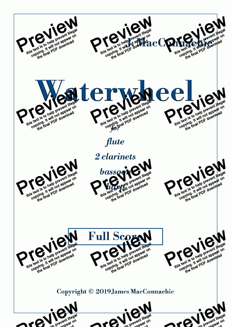 page one of Waterwheel - for Woodwind and Harp