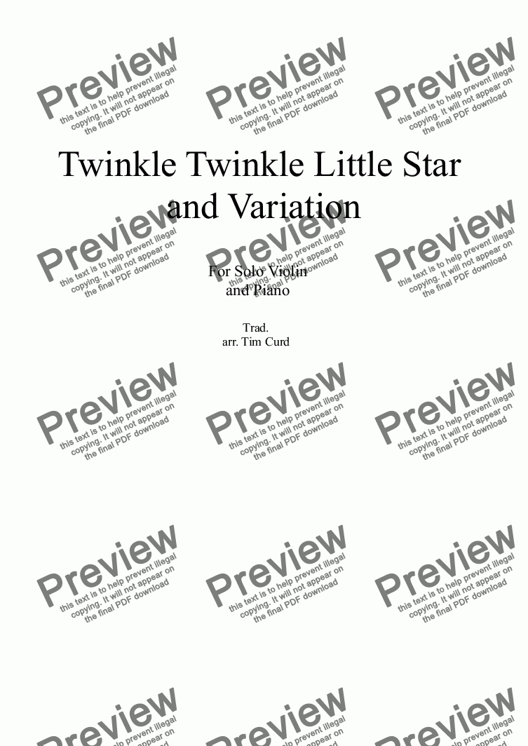 page one of Twinkle Twinkle Little Star and Variation for solo Violin and Piano.