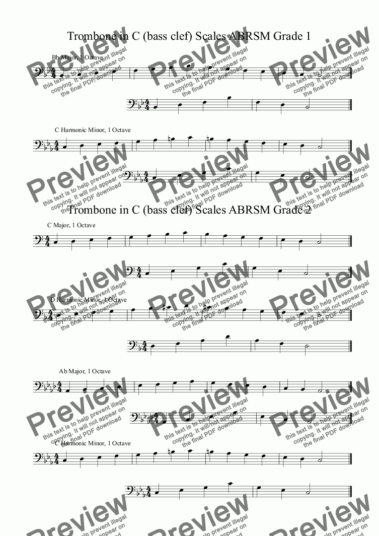 page one of Trombone Scales. Grades 1 and 2. ABRSM