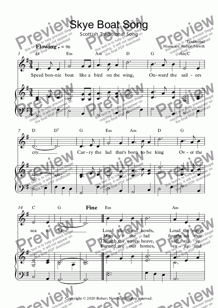page one of Skye Boat Song