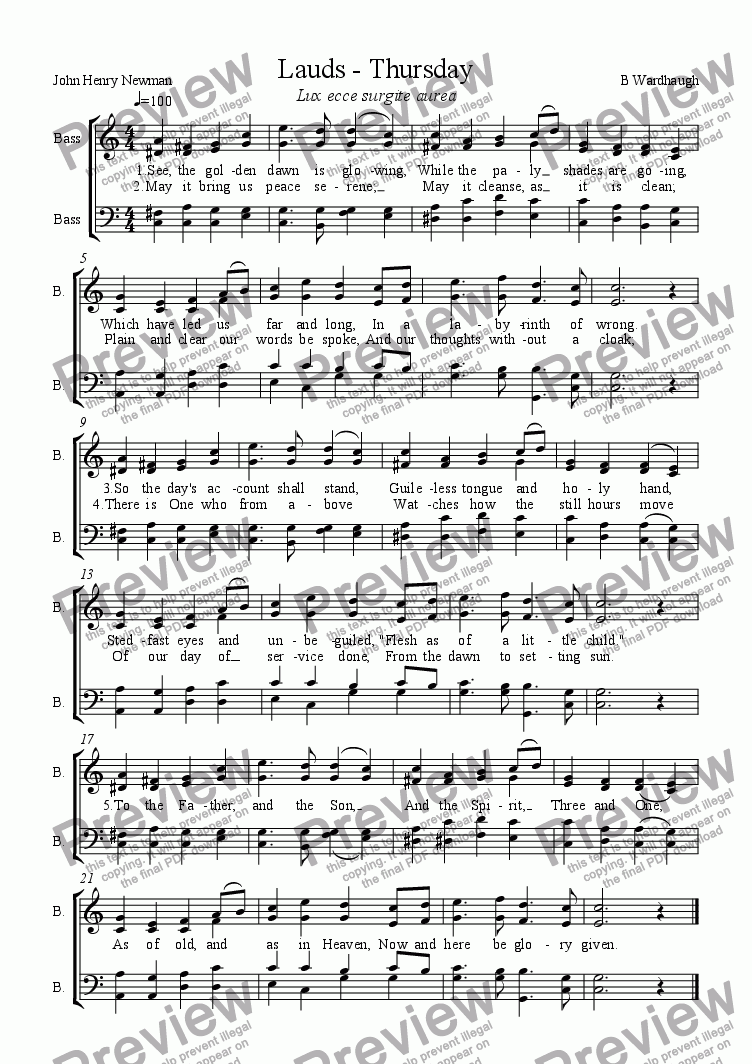 page one of Lauds, Thursday (See, the golden dawn is glowing) SATB