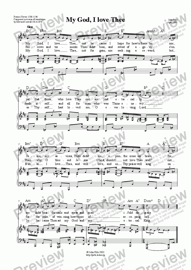 page one of My God, I love Thee (unison & piano) [2003]ASALTTEXT