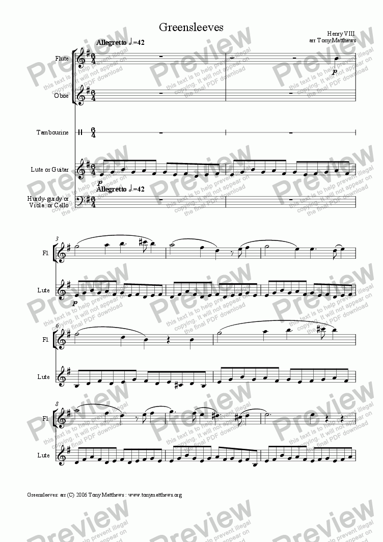 page one of Greensleeves