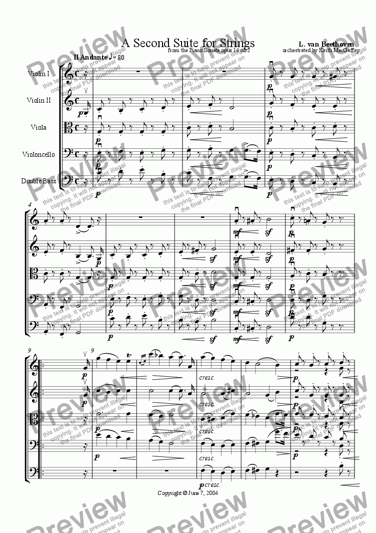 page one of Beethoven: A Second Suite for Strings  II Andante