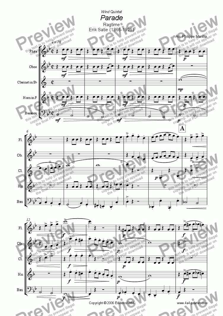 page one of Satie - Ragtime Parade (Wind Quintet)