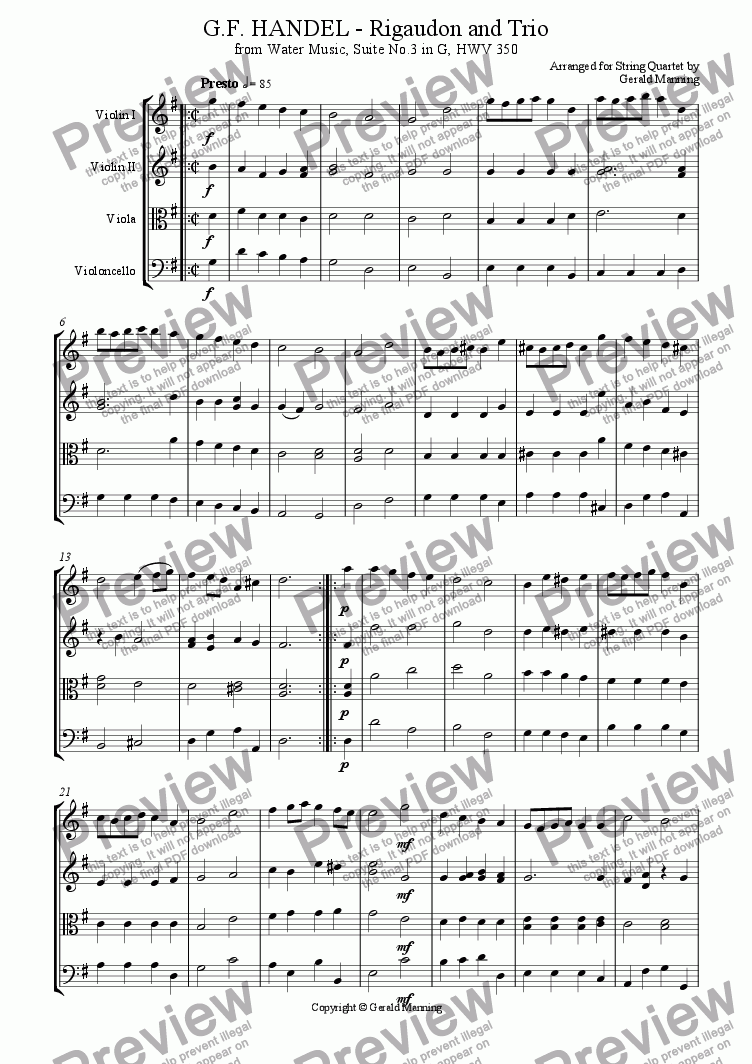 page one of HANDEL, G.F. -RIGAUDON and TRIO arr. for String Quartet by Gerald Manning