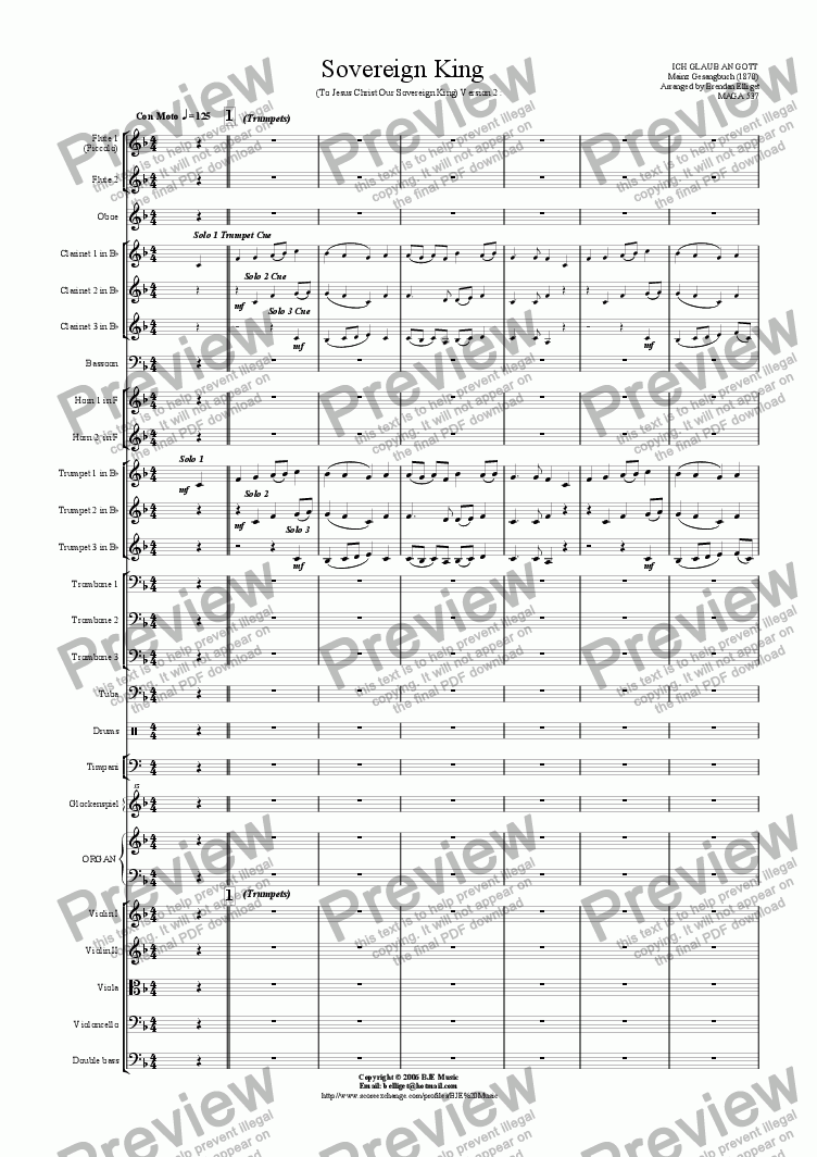 page one of Sovereign King (To Jesus Christ Our Sovereign King) - 3 Trumpets and Orchestra (Version 2)