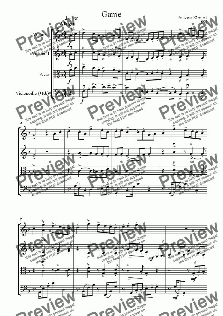 page one of Game for string quartet