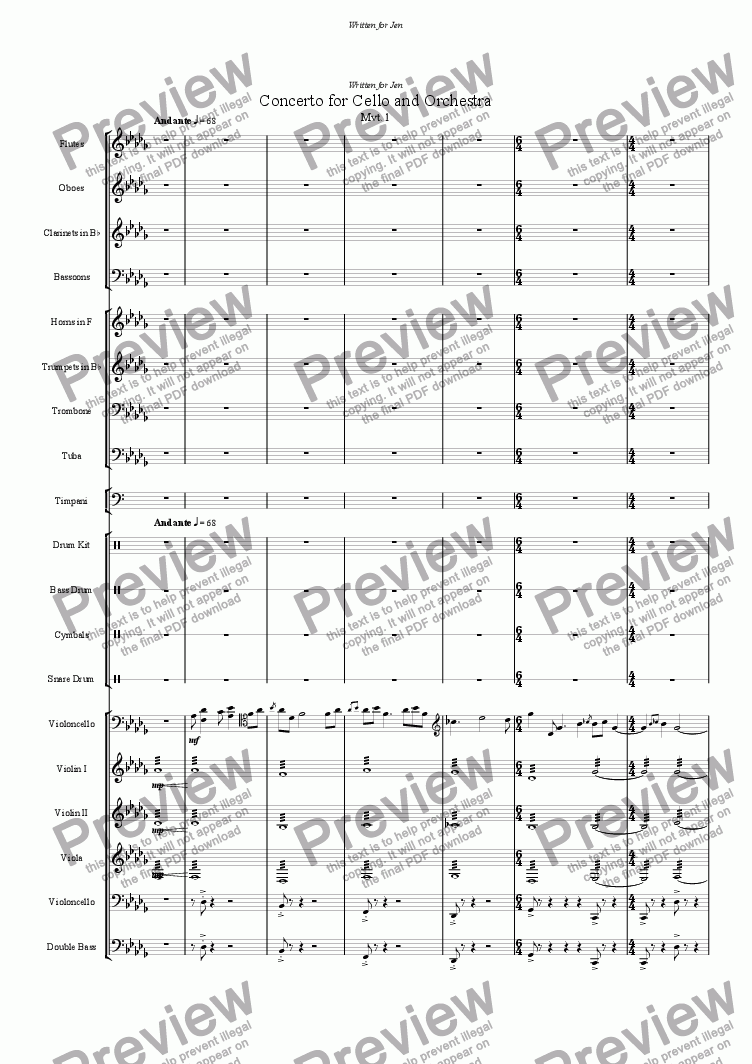 page one of Cello Concerto movements 1 & 2