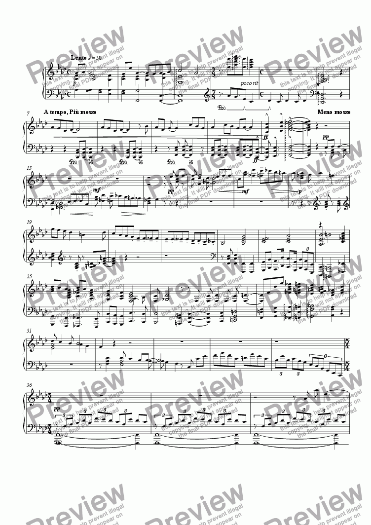 page one of Sketch for piano