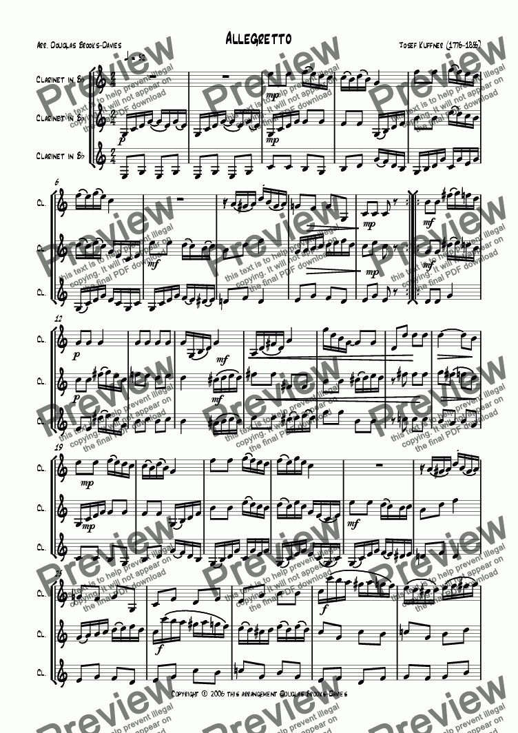 page one of Kuffner, Josef: Allegretto for clarinet trio