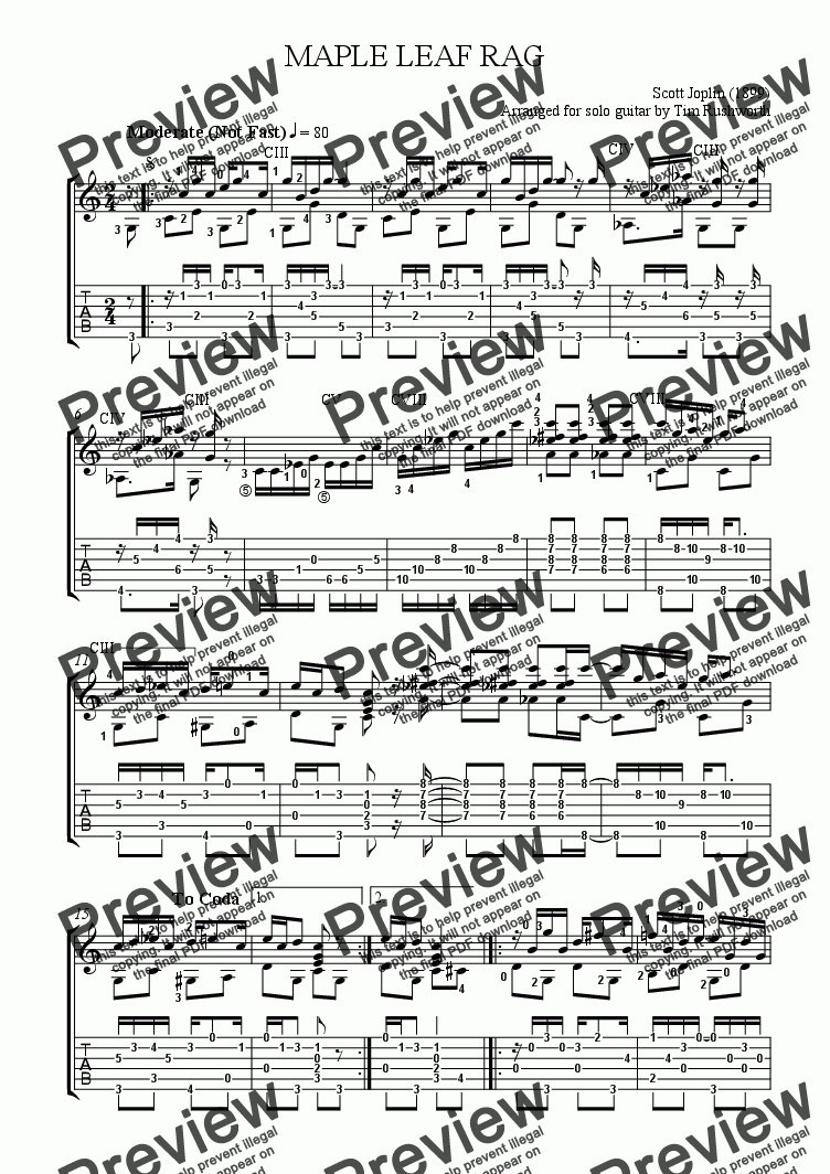 Maple Leaf Rag With Tab Download Sheet Music Pdf File