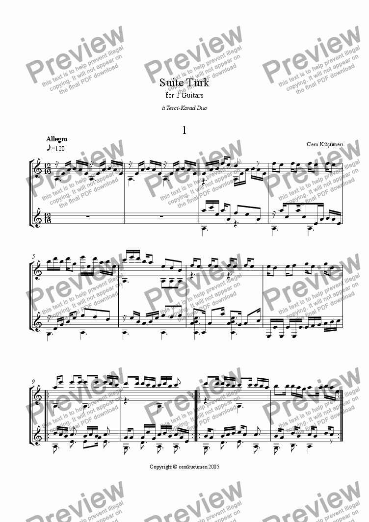 page one of Suite T�rk For 2 Guitars ( 5 Pieces)ASALTTEXT