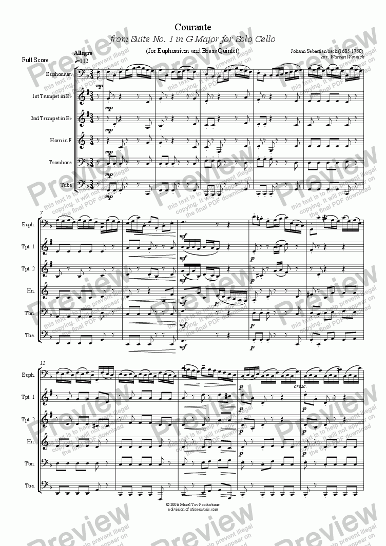 page one of Courante from from Suite No. 1 in G Major for Solo Cello (arranged for Solo Euphonium amd Brass Quintet)