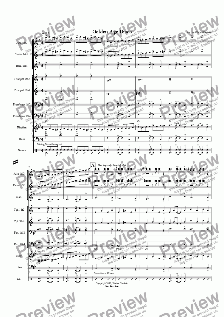 page one of Golden Age Disco (Big Band)