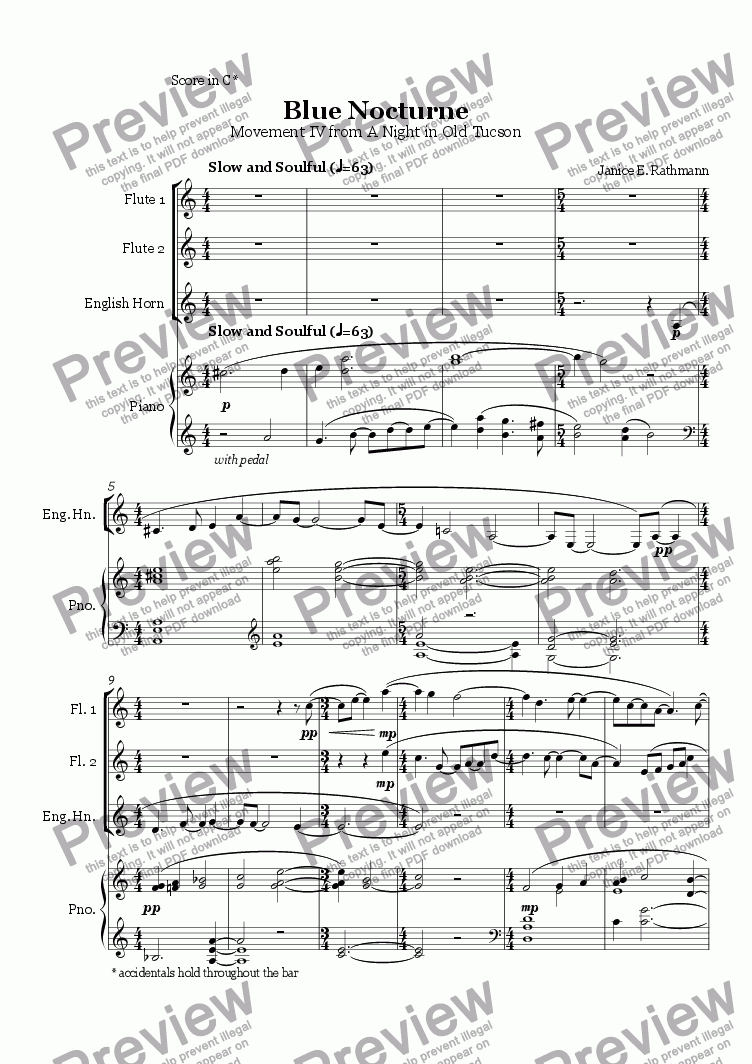Blue Nocturne (flute, eng horn, piano) for Large mixed ensemble by Janice  Rathmann - Sheet Music PDF file to download