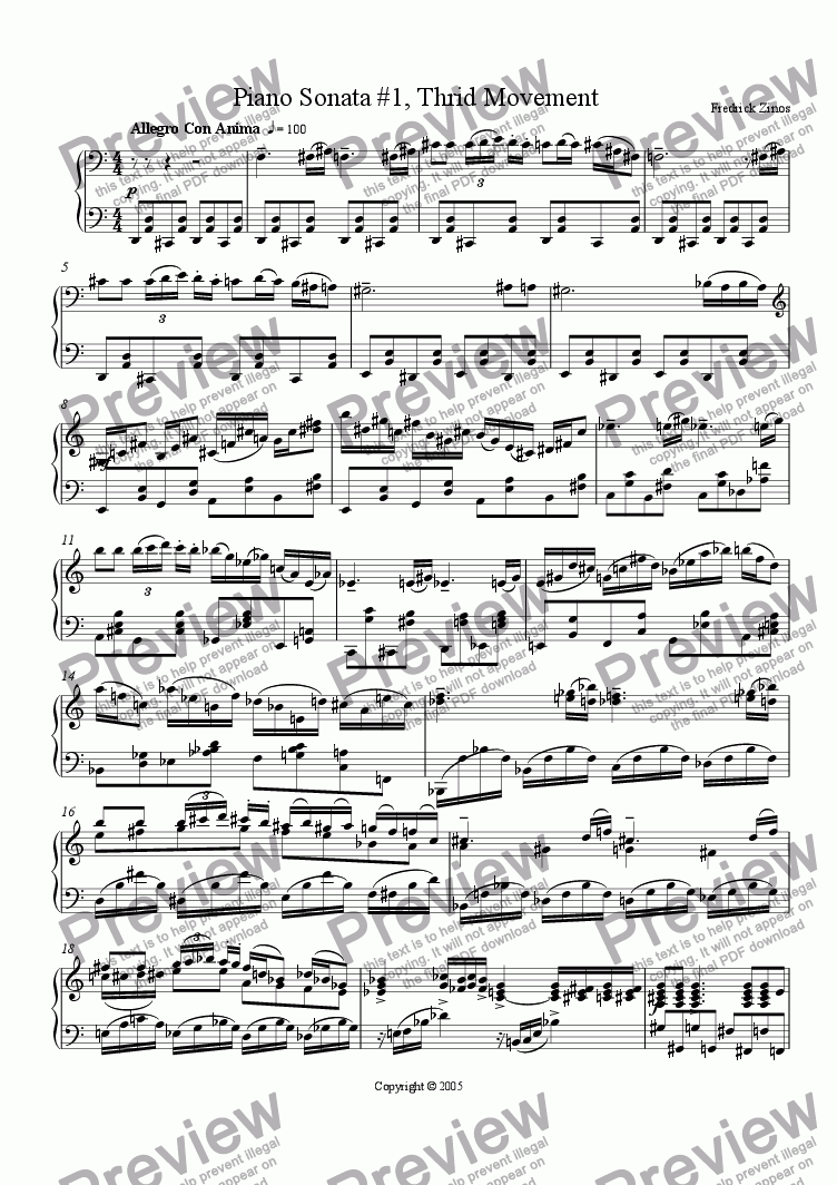 page one of Piano Sonata #1, Third Movement