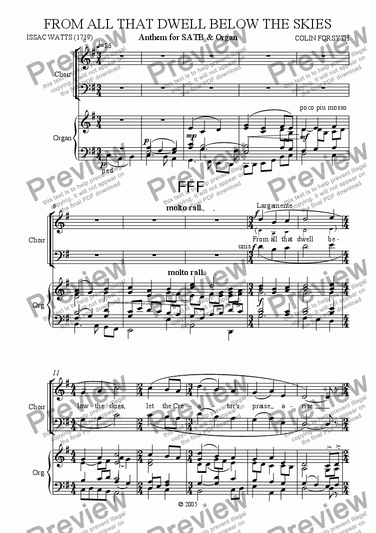 page one of 'From all that dwell below the skies'. Anthem for SATB & Organ