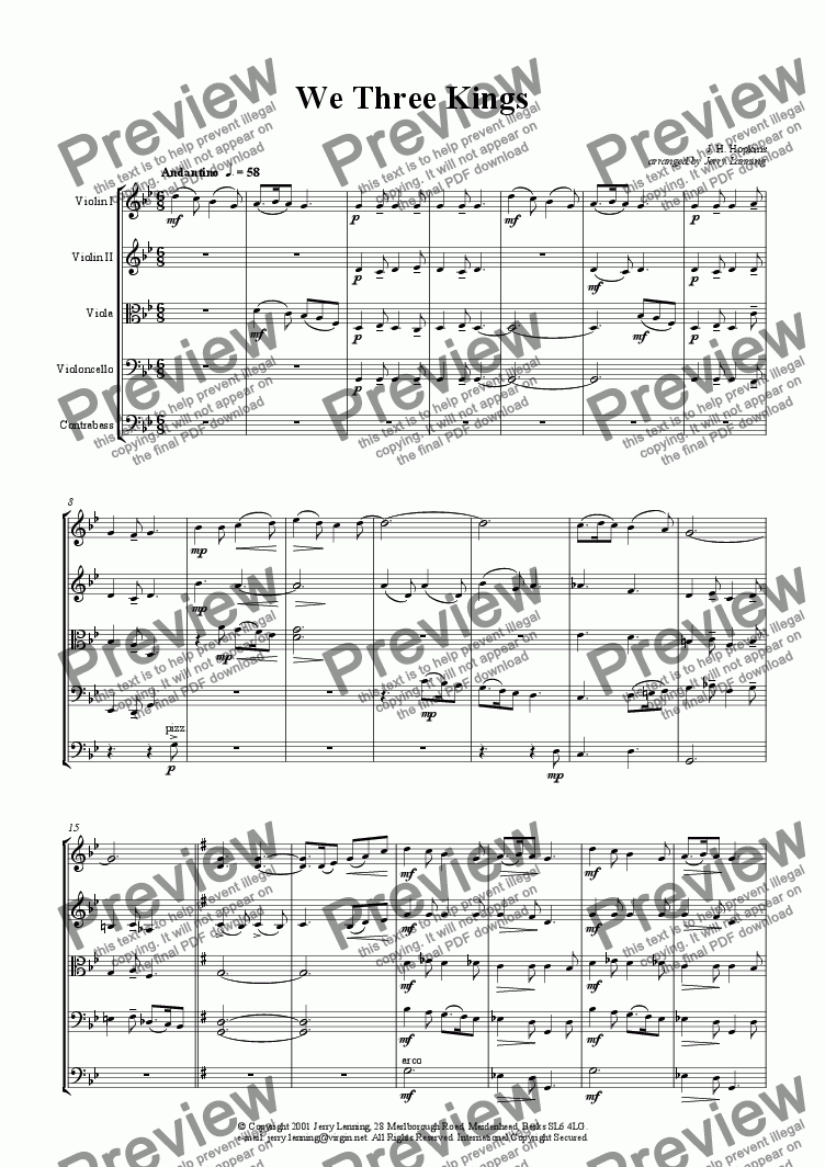 page one of We Three Kings (for strings)