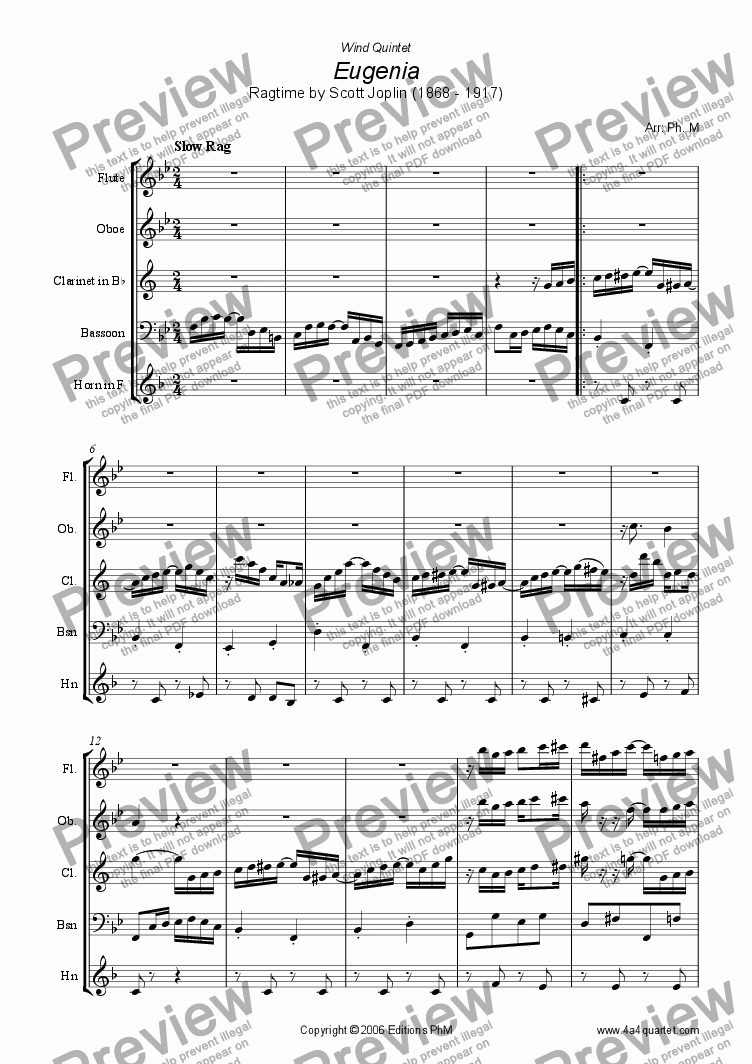 page one of Joplin - Eugenia Ragtime (Wind Quintet)