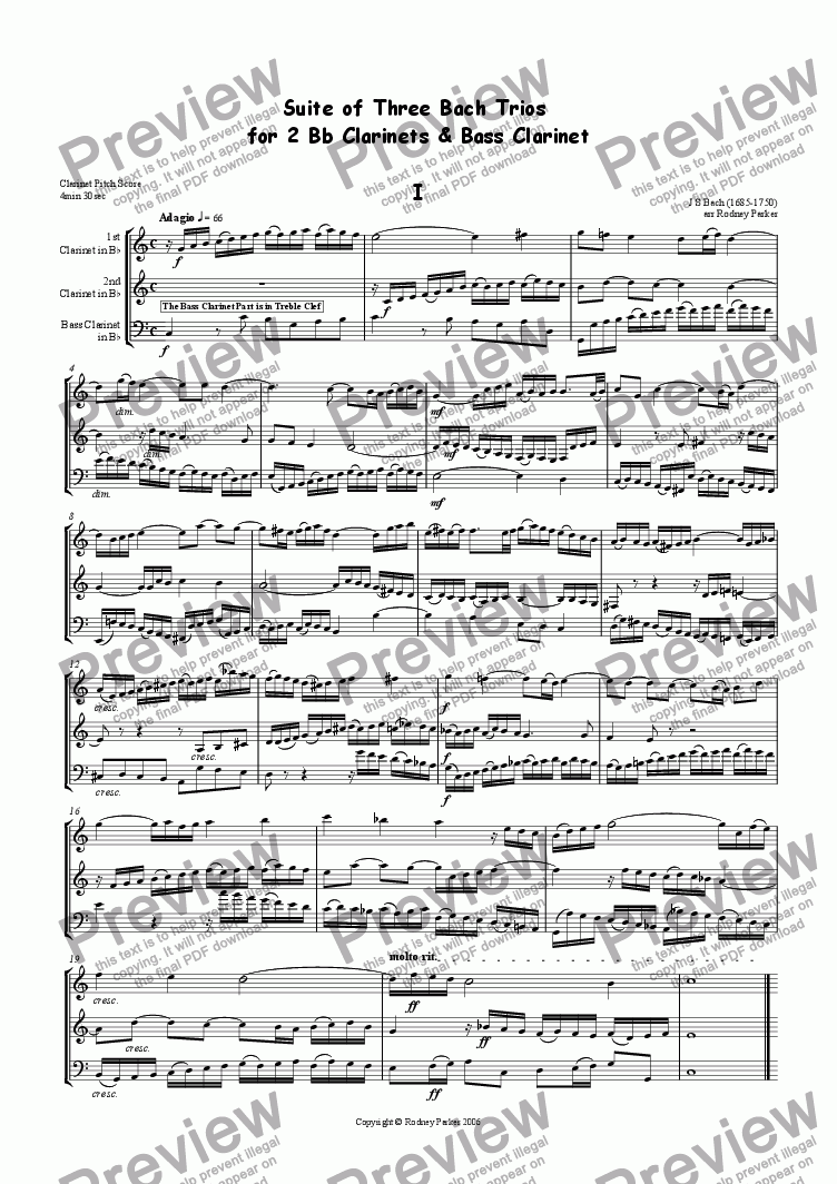 page one of Three Bach Trios for 2 Clarinets & Bass Clarinet
