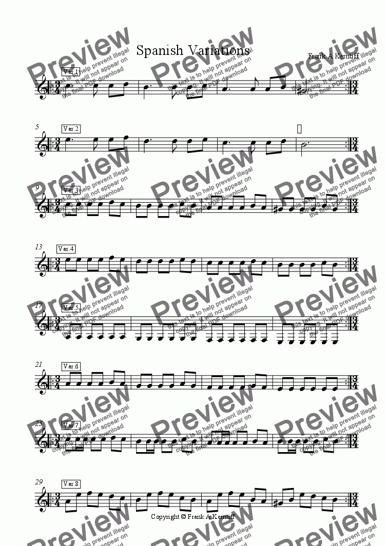page one of Spanish Variations