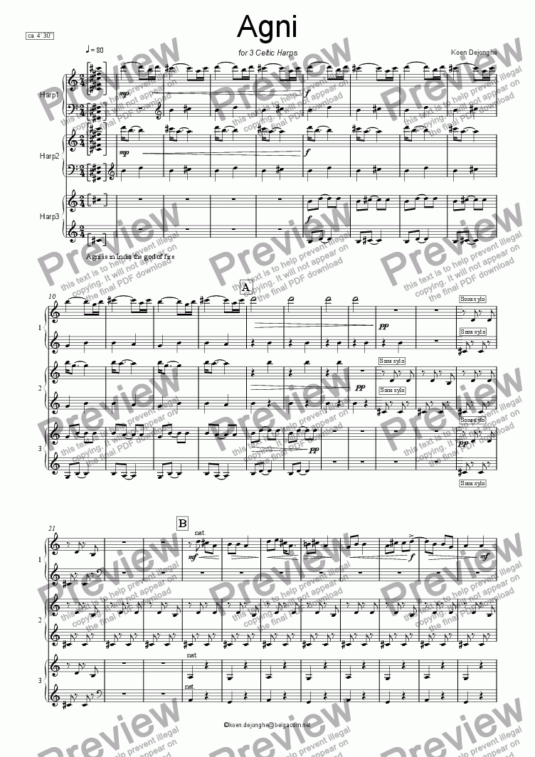 "page one of ""AGNI"" for 3 Celtic Harps"