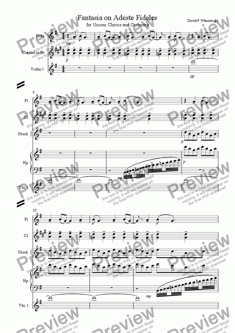 page one of Fantasia on Adeste Fideles