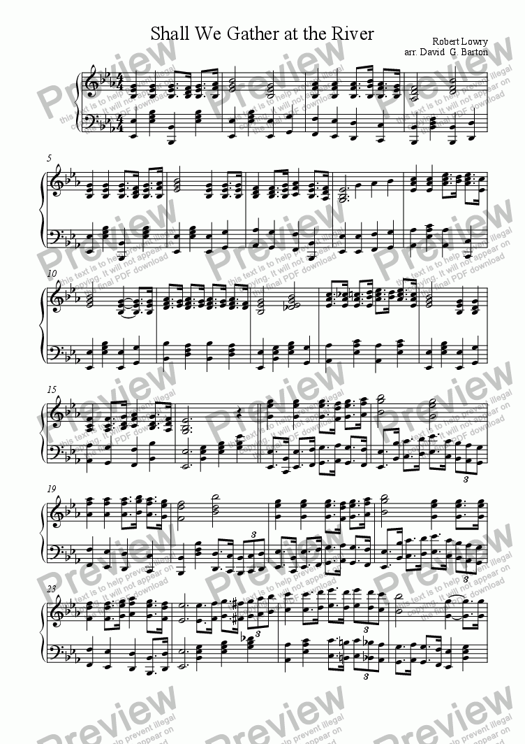 "page one of ""Shall We Gather at the River"" in Gospel Style Piano"