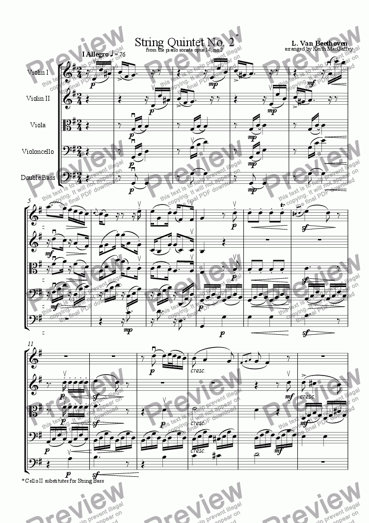 page one of Beethoven: String Quintet No. 2 - I Allegro