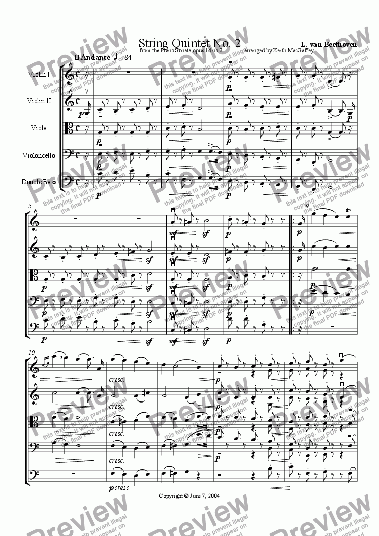 page one of Beethoven: String Quintet No. 2  II Andante