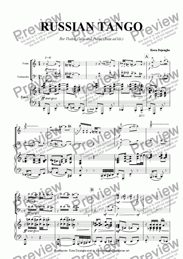 "page one of ""A Russian Tango"" for violin, cello and piano"