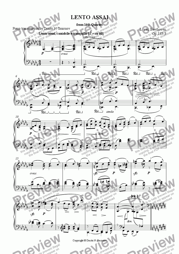 page one of LENTO ASSAI Beethoven op135-3 / Smirnov op143b-2. Pf