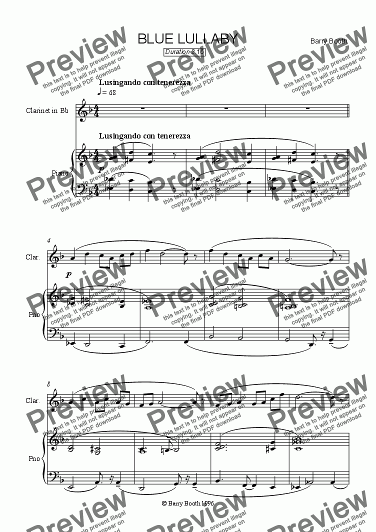 page one of Blue Lullaby (clarinet & piano)