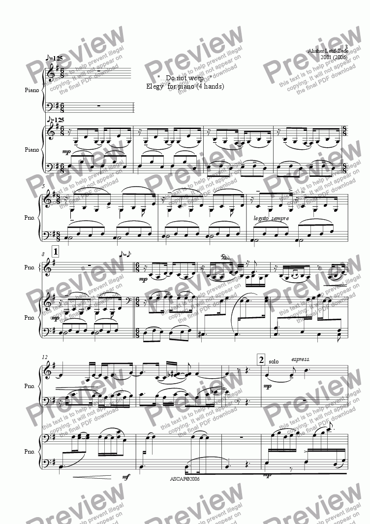 page one of ELEGY for piano (4 hands)