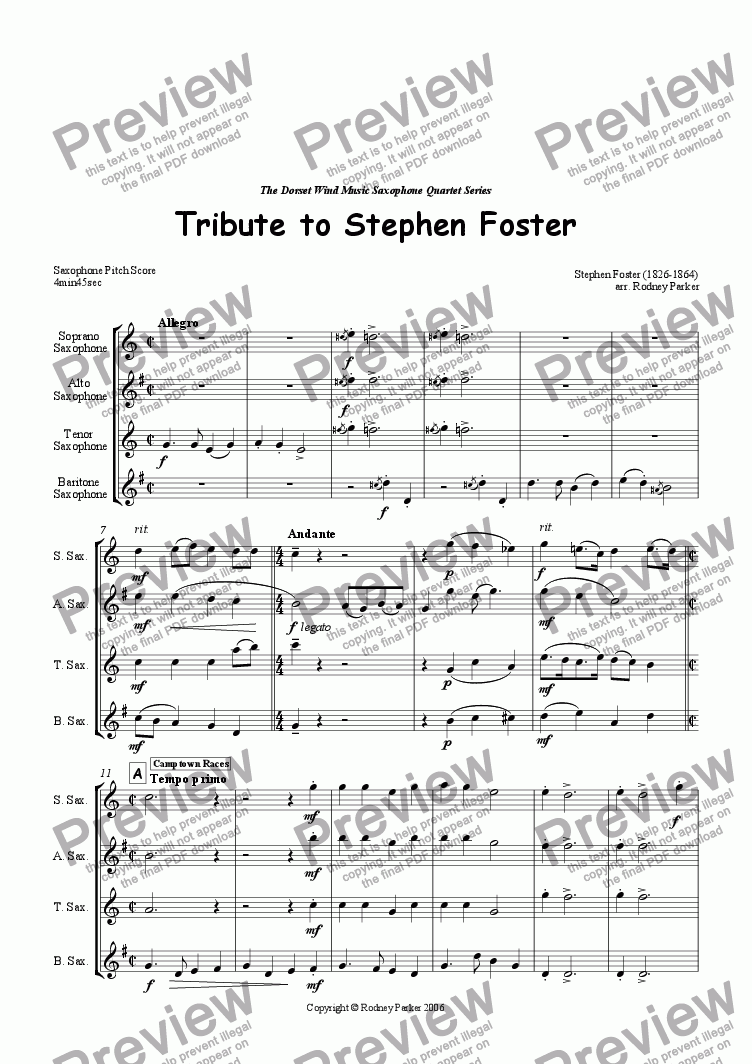 page one of Tribute to Stephen Foster