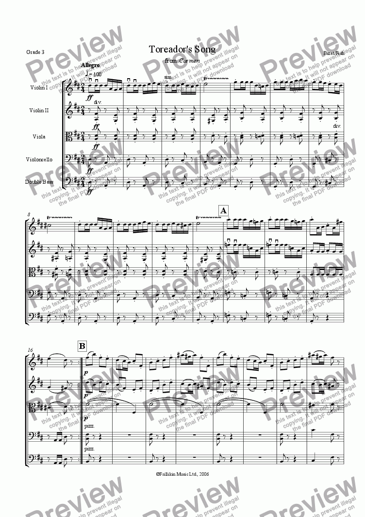 page one of Toreador's Song from Carmen