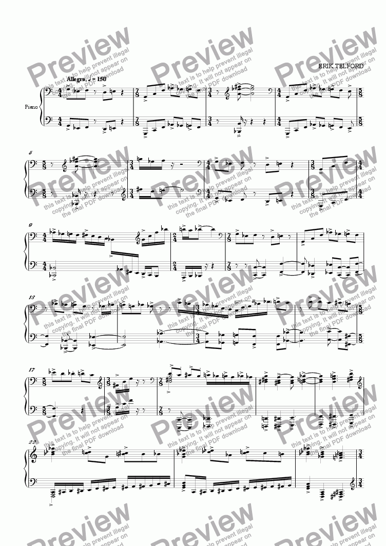 page one of Piano Work (Unfinished)