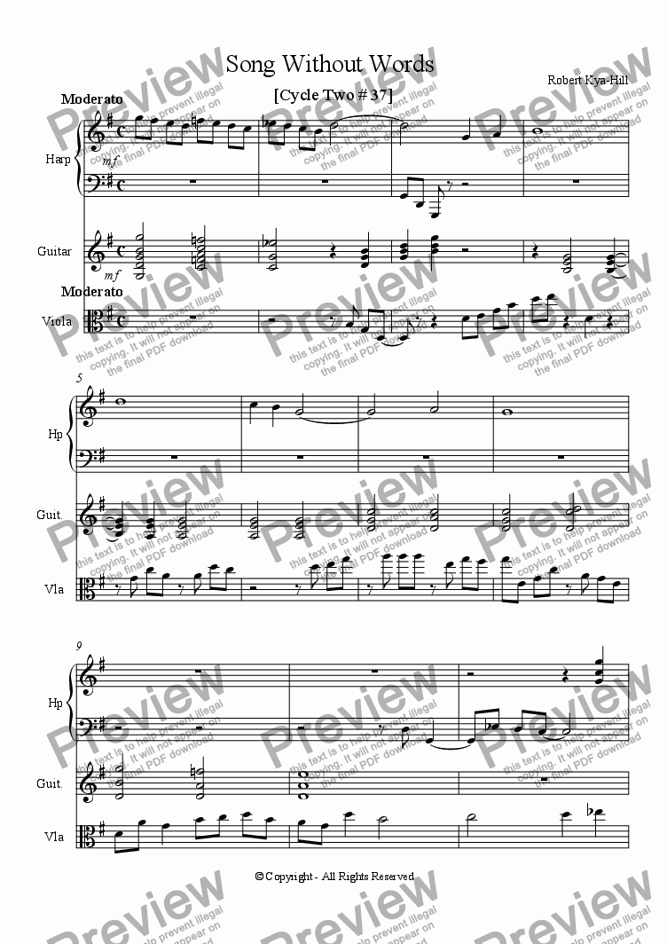 page one of Song Without Words  [ Cycle Two # 37 ] [ Harp, Guitar, and Viola]