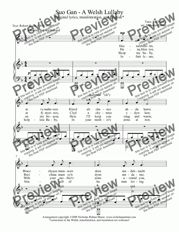 page one of Suo Gan (Solo vocal and piano)