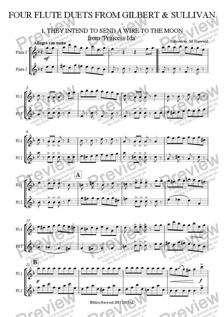 page one of Four  Duets from Gilbert & Sullivan