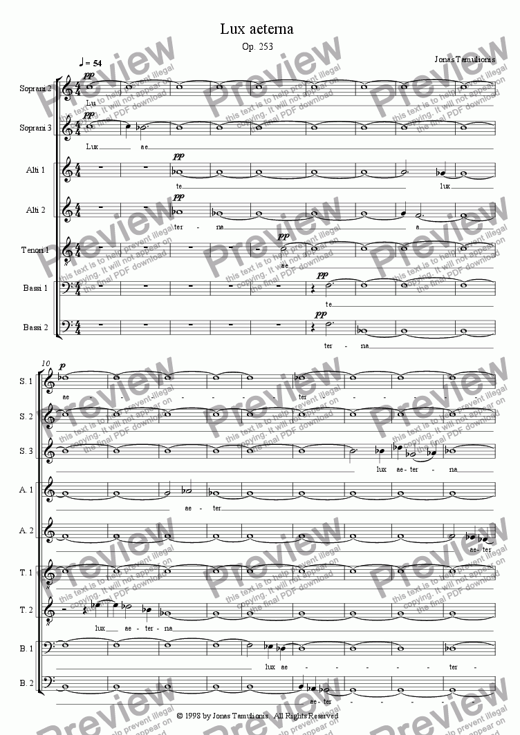 page one of Lux aeterna