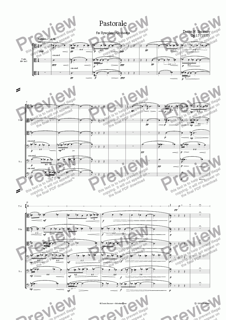 page one of PASTORALE op15 for orchestra