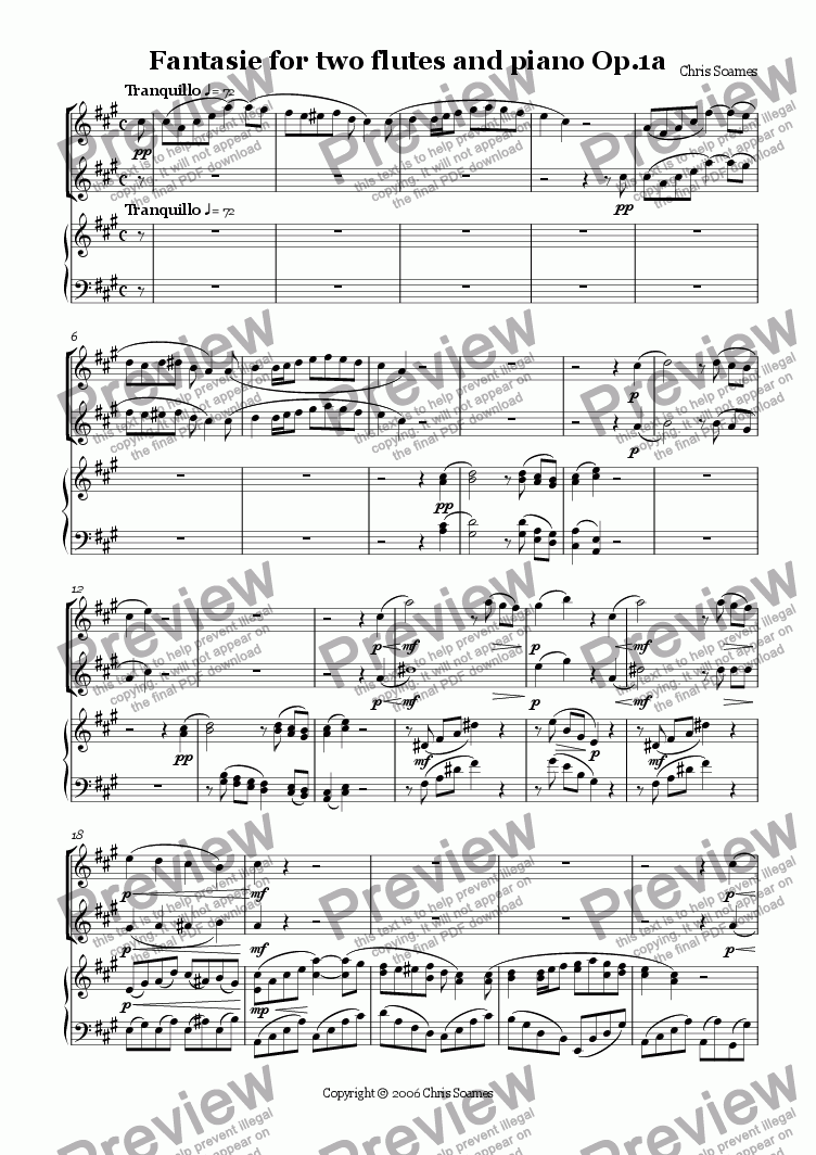 page one of Fantasie for two flutes and piano Op.1a